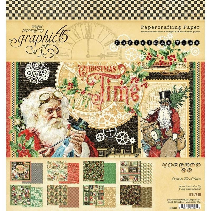 Graphic 45 Christmas Time Paper Pad 8 x 8