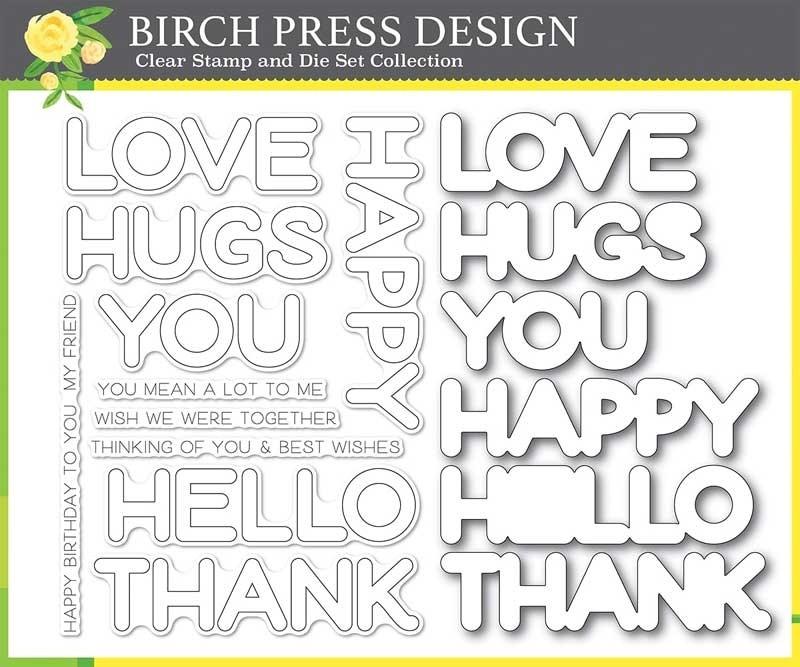 Birch Press Happy Lingo clear stamp and die set 8156