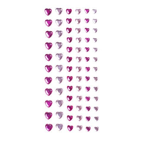 Clear & Pink Heart Bling Stickers: 74 pc