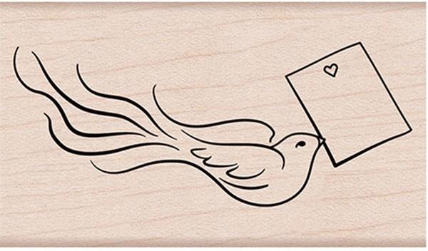 Hero Arts Love Note Bird Rubber Stamp g6259
