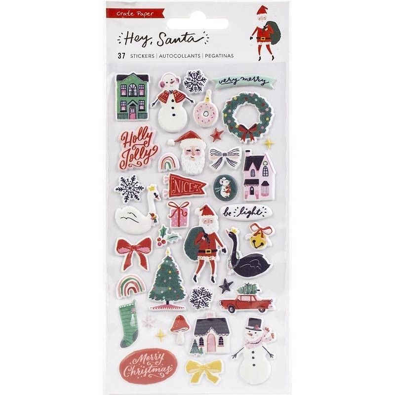 Hey Santa Puffy Stickers