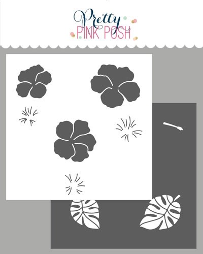 Pretty Pink Posh Hibiscus Flowers Stencils (2 layer)