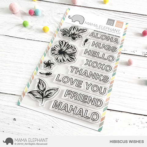 Mama Elephant Hibiscus Wishes Clear Stamps
