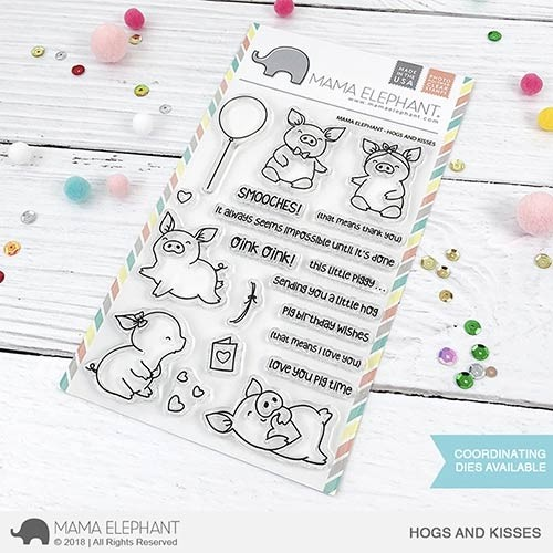 Mama Elephant Hogs and Kisses Stamp Set and dies.