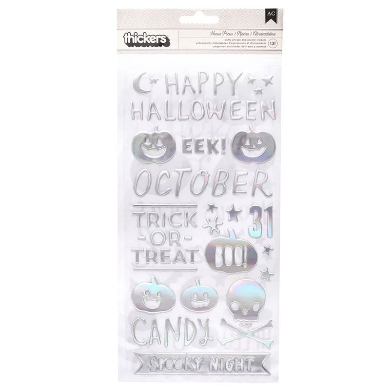 Crate Paper - Hey Pumpkin Thickers - Glossy Puffy with Holographic Foil Accents
