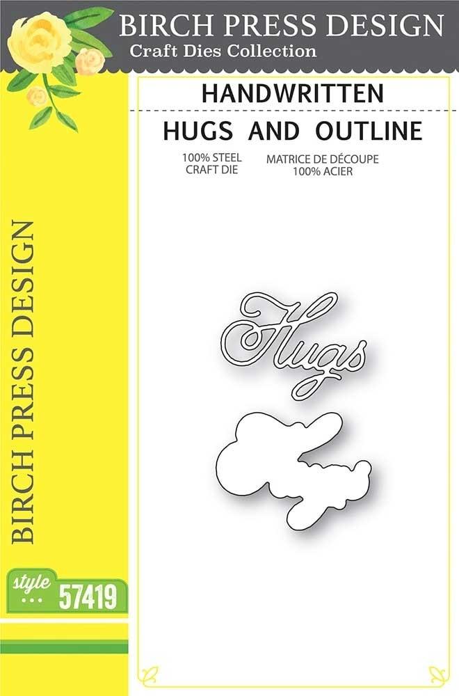 Birch Press  Handwritten Hugs and Outline craft die 57419