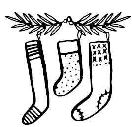 5657f - Hung Stockings Rubber Stamp