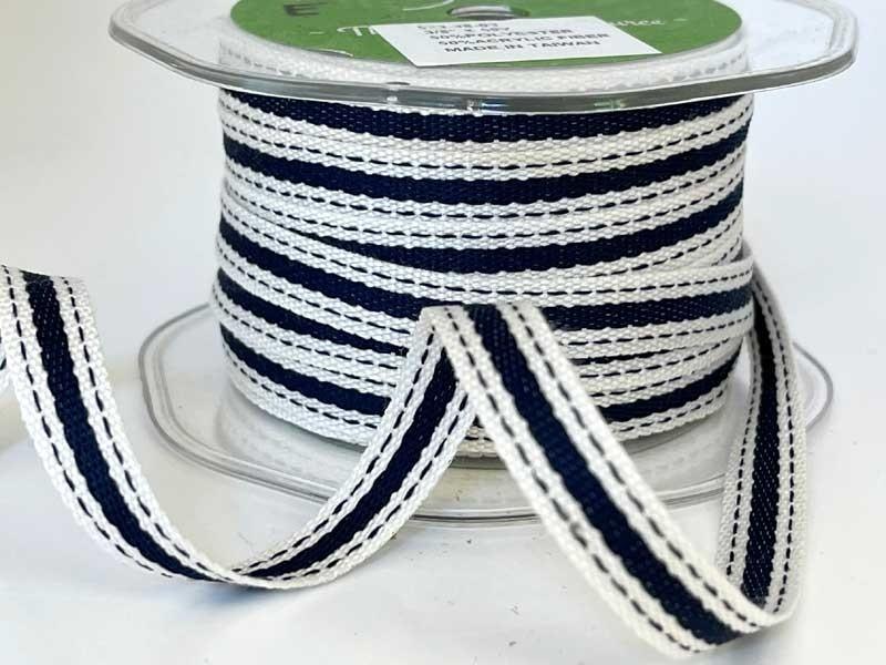 "Ivory and Navy Stripe Ribbon 3/8"""