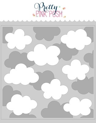 Pretty Pink Posh Layered Clouds Stencil