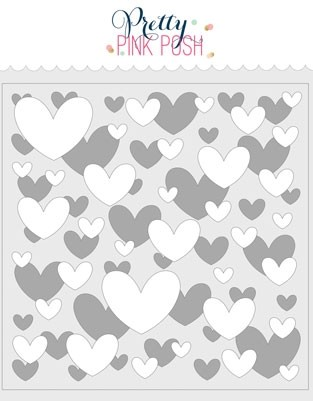 Pretty Pink Posh Layered Hearts Stencil (2 pack)