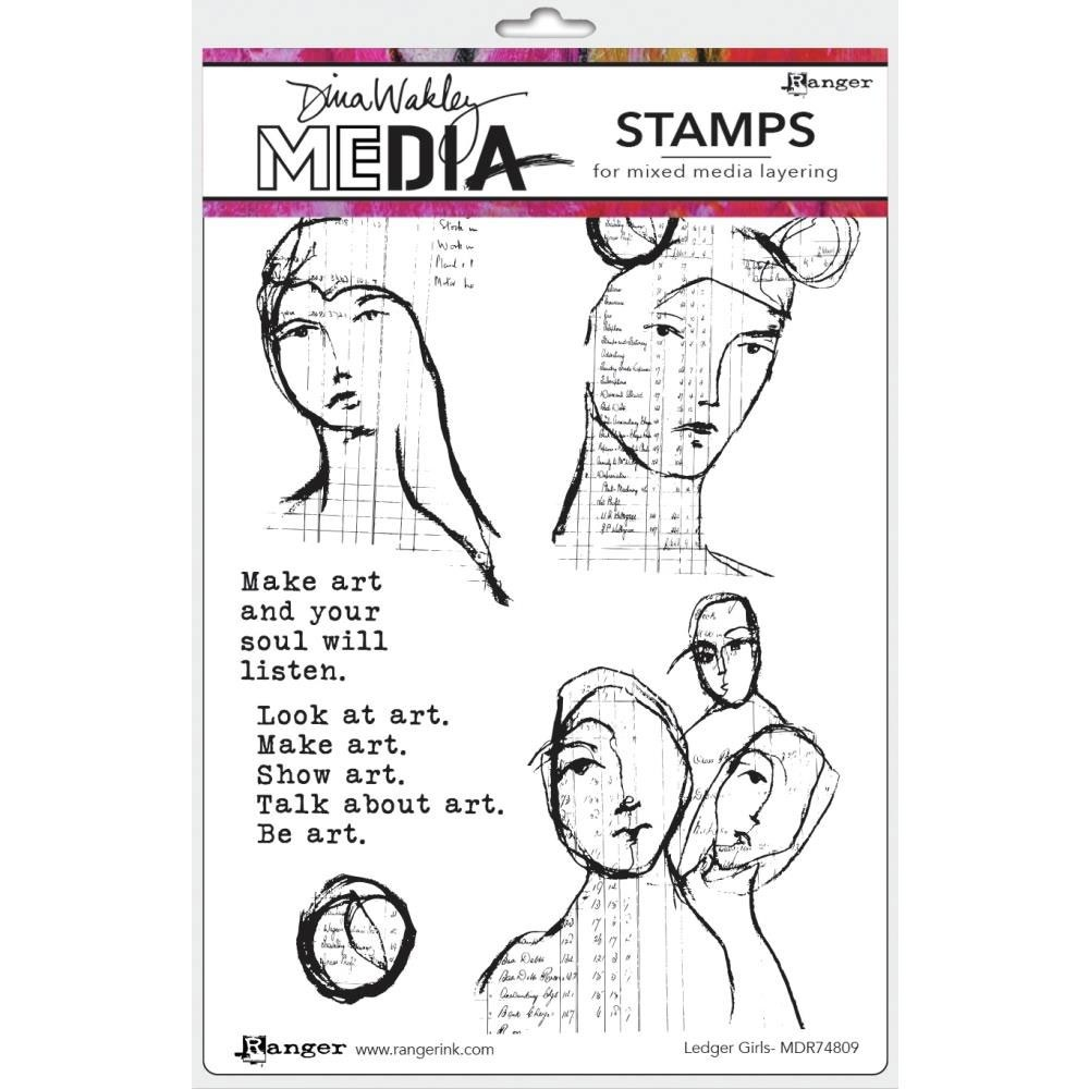 NEW Dina Wakley Ledger Girls Stamp Set