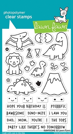 Lawn Fawn RAWRSOME clear stamp set