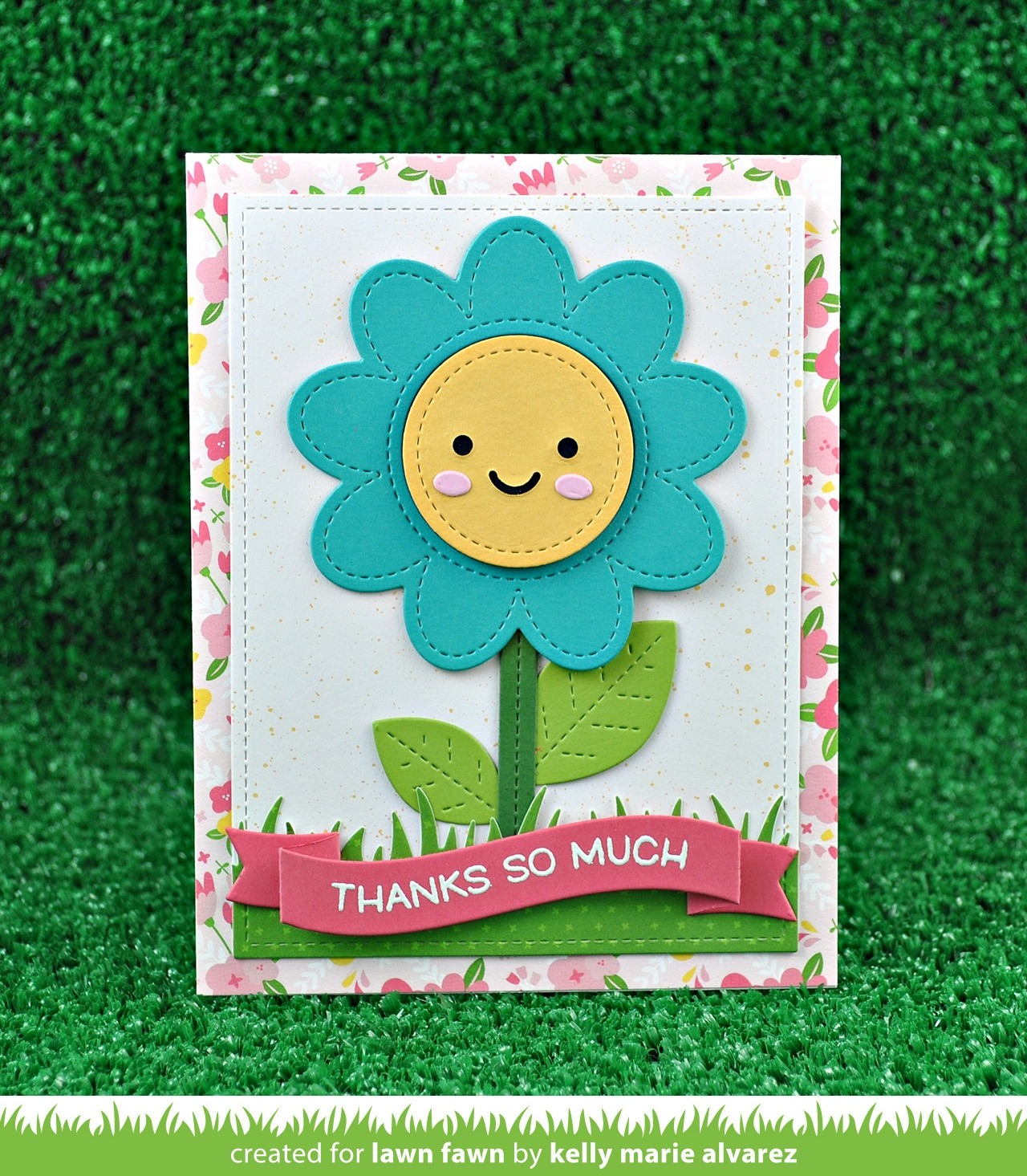 Lawn Fawn outside in stitched flower die