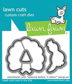 Lawn Fawn peacock before 'n afters - lawn cuts