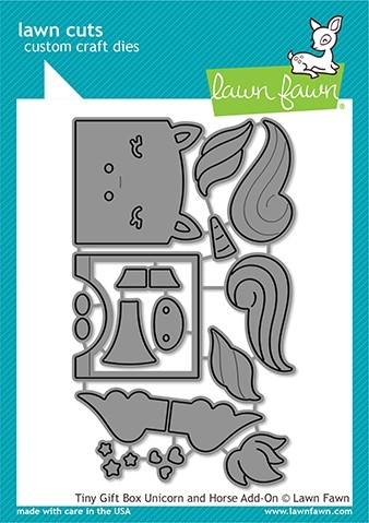 Lawn Fawn tiny gift box unicorn and horse add-on LF 2173