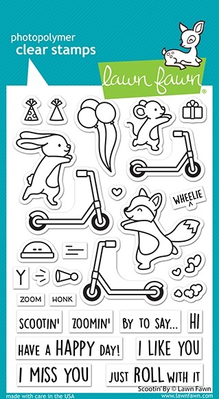 Lawn Fawn scootin' by stamp set  LF2554