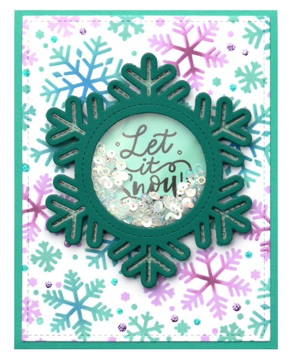 Lawn Fawn stitched snowflake frame LF2701