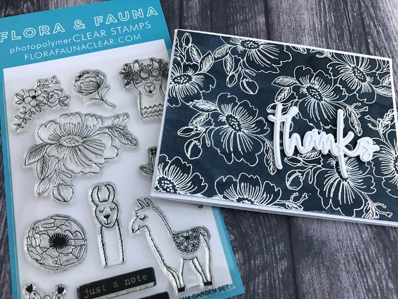 Flora and Fauna Llama Garden Clear Stamp Set