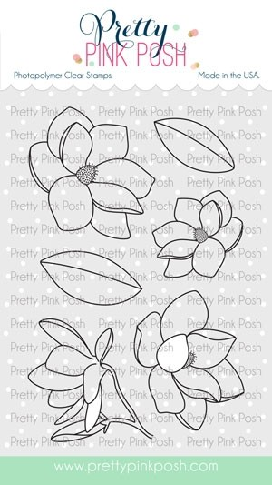 Pretty Pink Posh Magnolia Flowers Stamp Set