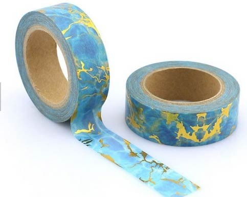 Blue and Gold Marble Washi Tape