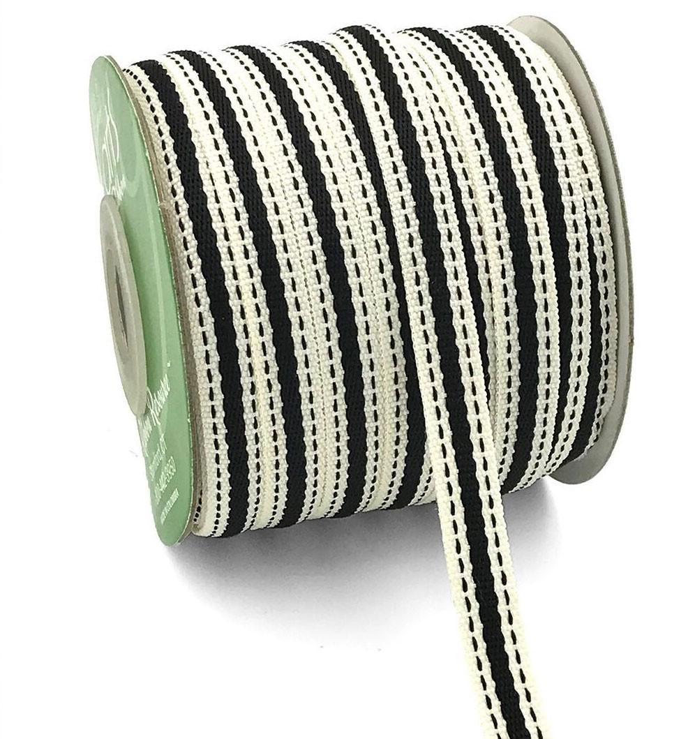 "Ivory and Black Stripe Ribbon 3/8"""