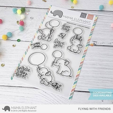 Mama Elephant Flying with Friends Clear Stamp Set