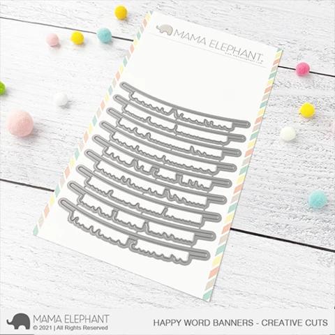 Mama Elephant Happy Word Banners cuts