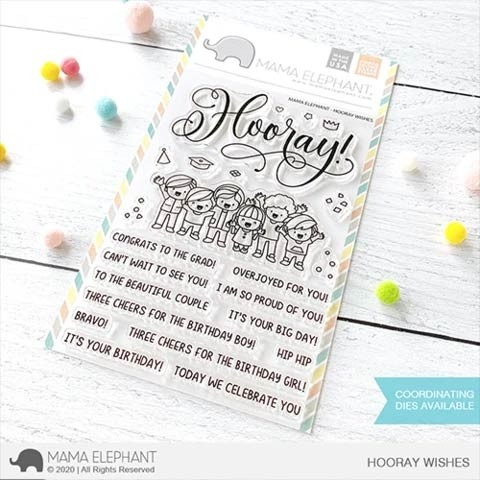 Mama Elephant HOORAY WISHES Clear Stamp Set