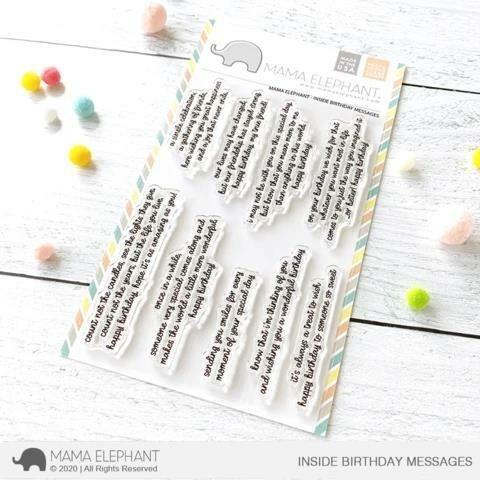 Mama Elephant Inside Birthday Sayings Clear Stamp Set