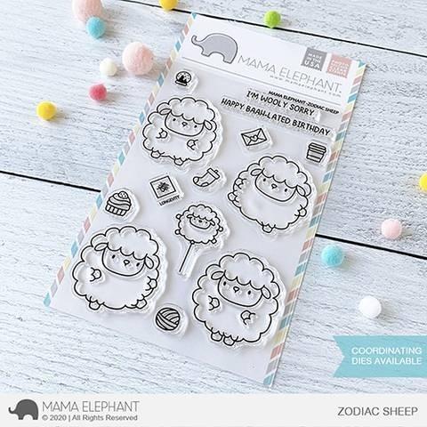 Mama Elephant ZODIAC SHEEP Clear Stamp Set