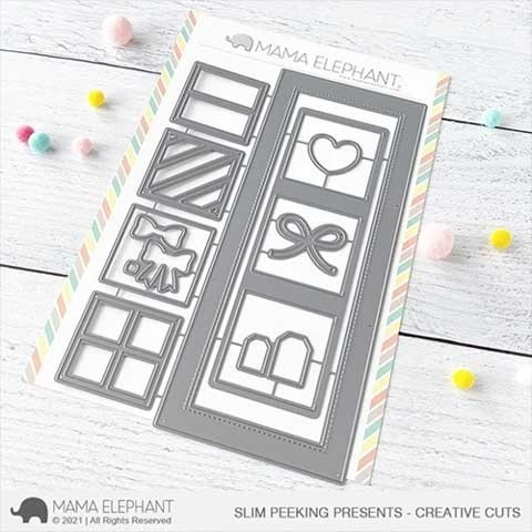 Mama Elephant Slim Peeking Presents - Creative Cuts