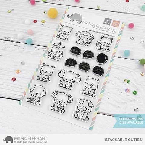 Mama Elephant Stackable Cuties Clear Stamp Set