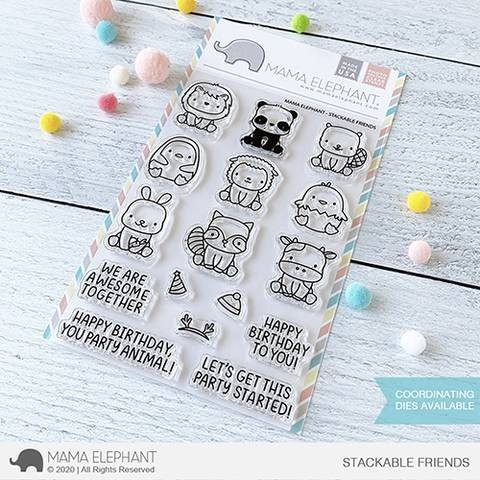 SALE - Mama Elephant STACKABLE FRIENDS Clear Stamp Set