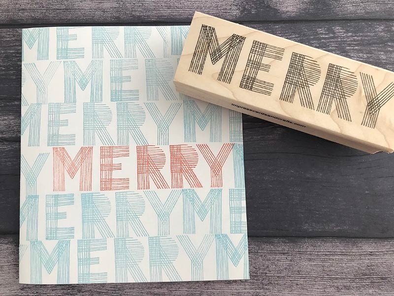5716e -  striped merry rubber stamp