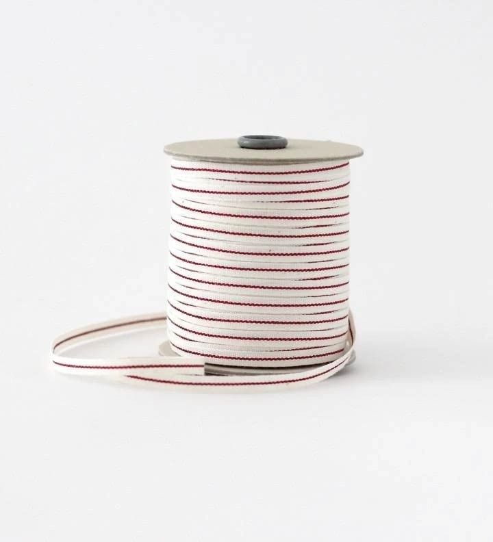 Natural Ribbon with a Metallic Red  Stripe