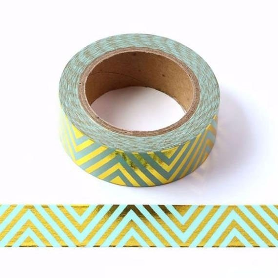 Mint and Gold Chevron Washi Tape