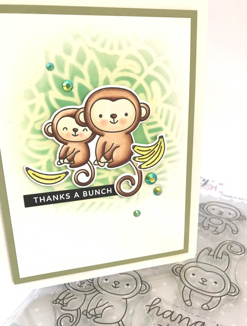 Pretty Pink Posh Monkey Friends Stamp Set