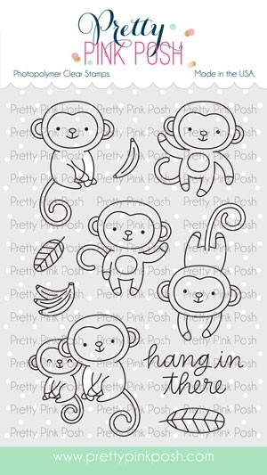 Pretty Pink Posh Monkey Friends Stamp Set