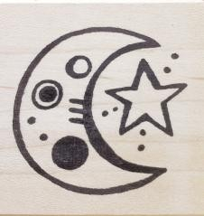 Rubbermoon Moon and star rubber stamp