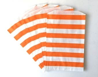Middy bags - orange and white stripes