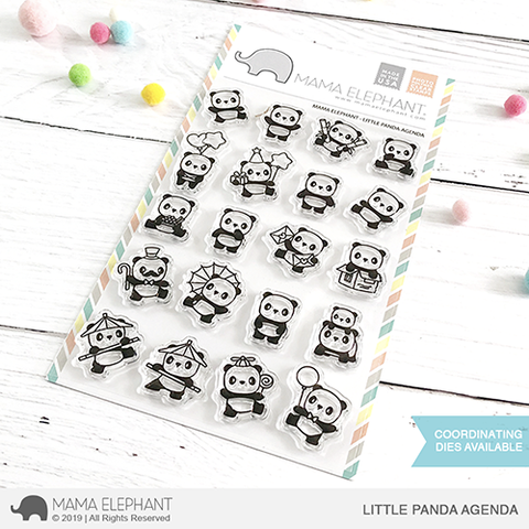 Mama Elephant Little Panda Agenda Clear Stamp Set