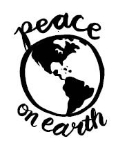 5715d - peace on earth with globe rubber stamp