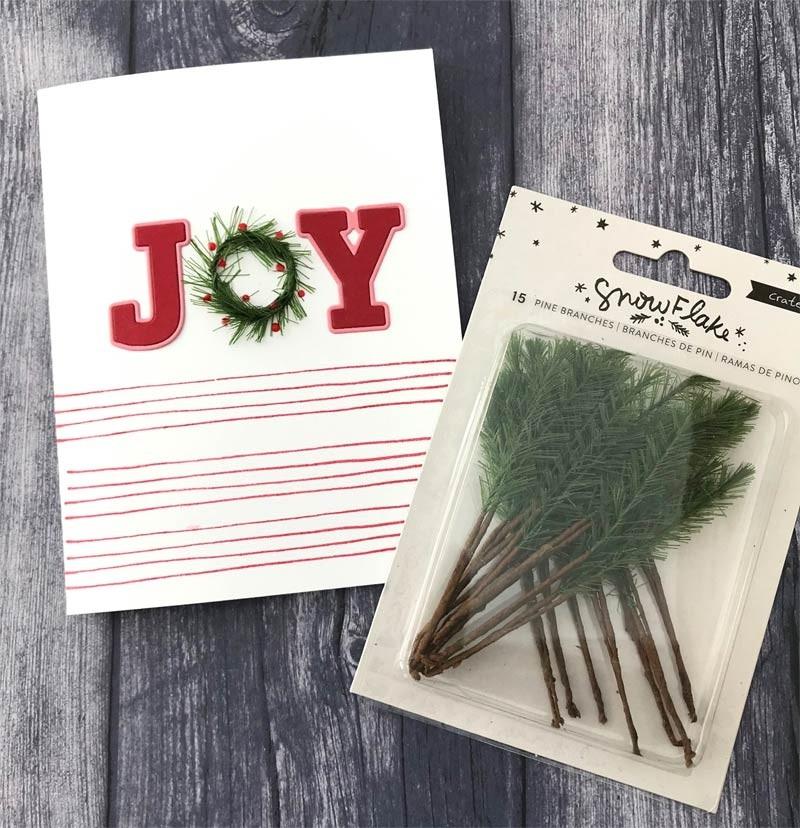 Snowflake Faux Pine Branch W/Paper Stem 15/Pkg