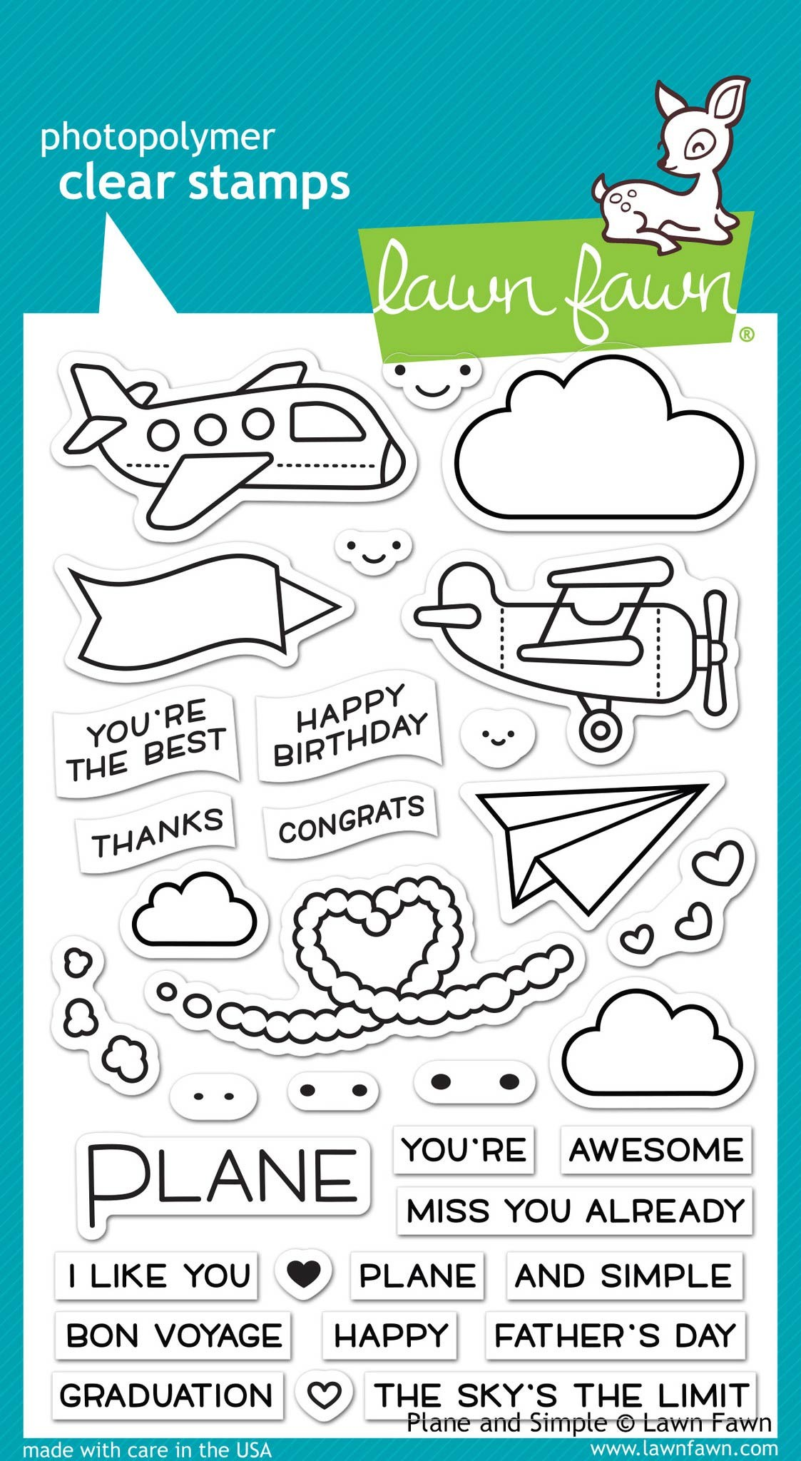 Lawn Fawn Plane and Simple Clear Stamp Set