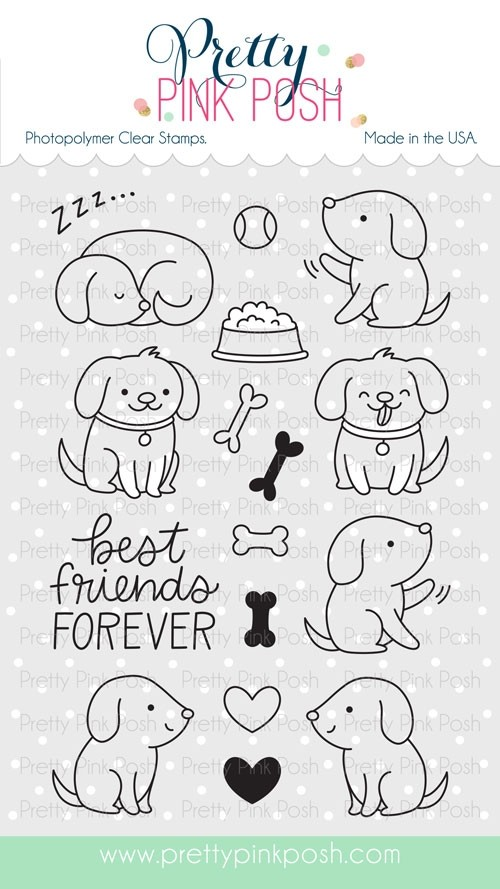 Pretty Pink Posh Playful Puppies Clear Stamps