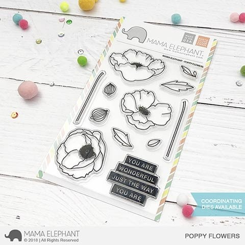 Mama Elephant POPPY FLOWERS clear stamp set