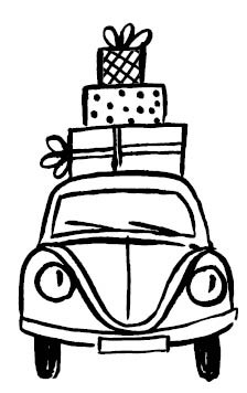 5656f - Holiday Shopping Rubber Stamp