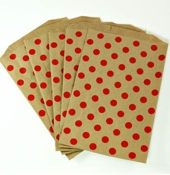 Middy bags - red dots on kraft