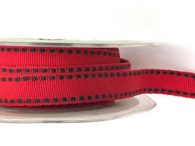 Red Ribbon with Green Stitched Edges