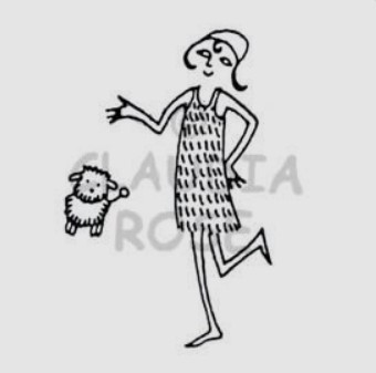 Rubbermoon lady with dog by Claudia Rose
